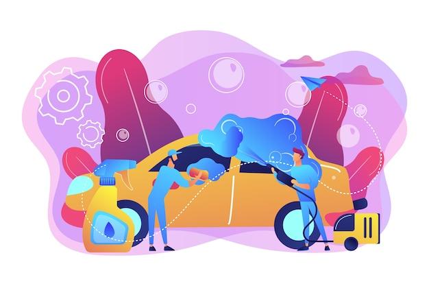 Asistentes de lavado automático que limpian el exterior del vehículo con equipo especial. servicio de lavado de autos, lavado de autos automático, concepto de lavado de autos de autoservicio. ilustración aislada violeta vibrante brillante