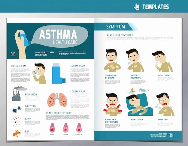 Asma infografía. bienestar plana ilustración de dibujos animados lindo.