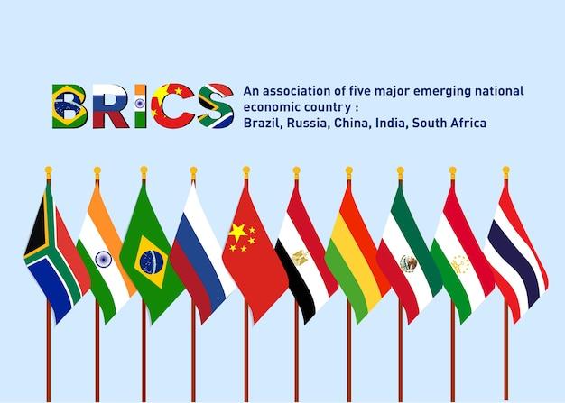 Asociación bric de los cinco principales países emergentes con nuevos países miembros de la bandera