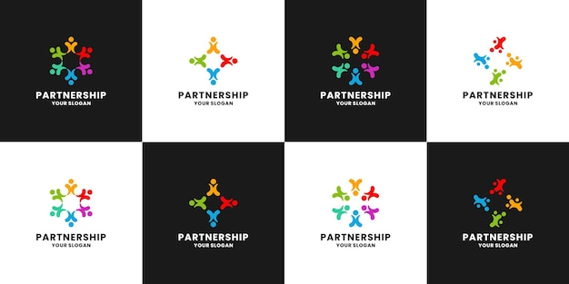Asociación, diseño de logotipo de grupo familiar para comunidad humana