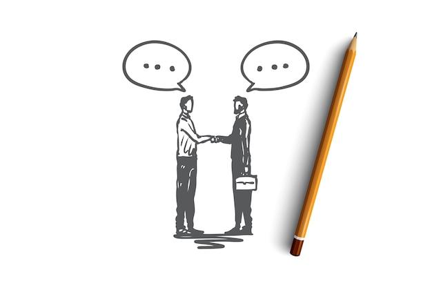 Asociación, negocios, personas, éxito, concepto de apretón de manos. dibujado a mano empresarios estrecharme la mano concepto de bosquejo. ilustración.