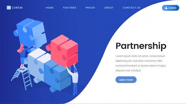Asociación, página de aterrizaje isométrica de trabajo en equipo.