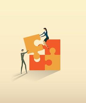 Asociación de personas de trabajo en equipo de negocios que conecta elementos de rompecabezas.