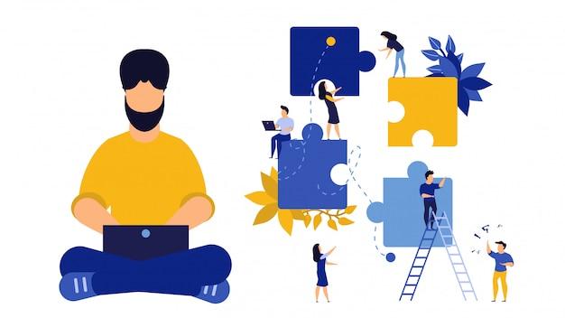 Asociación rompecabezas persona negocio ilustración trabajo en equipo concepto.