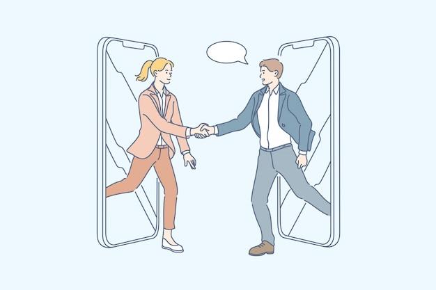 Asociación, saludo, reunión de negocios, trato, apretón de manos, concepto de transacción