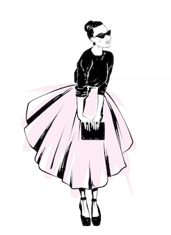 Aspecto elegante. ropa y accesorios. ilustración de vector de una postal o un cartel. moda y estilo, vintage y retro.