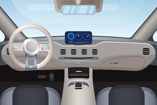 Aspecto interior realista de un vehículo de clase alta