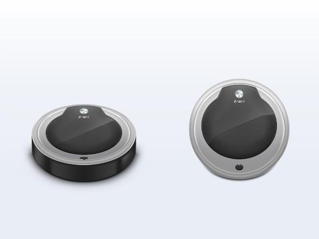 Aspirador robot frontal, vista superior 3d vector realista