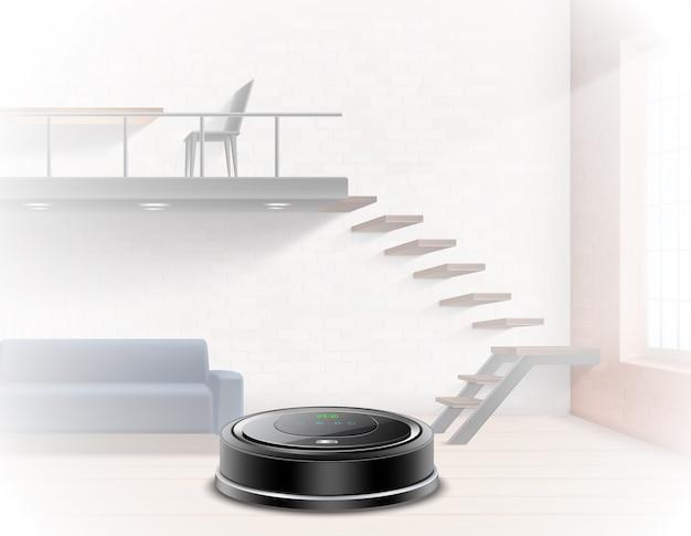 Aspirador robótico negro en un apartamento