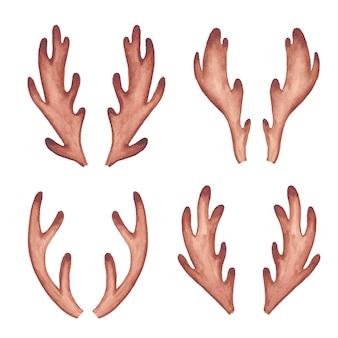 Astas de reno acuarela. cornamenta de ciervo imágenes prediseñadas de acuarela, boho y cuernos