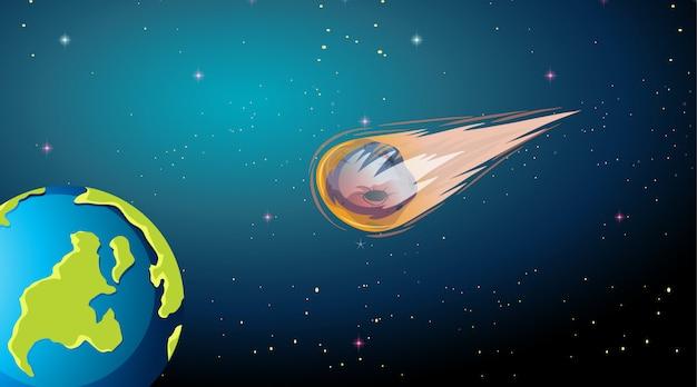 Asteroide cayendo a la escena de la tierra