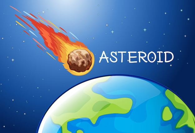 Asteroide volando en el espacio
