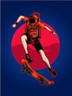 Astro skate ilustración espacial