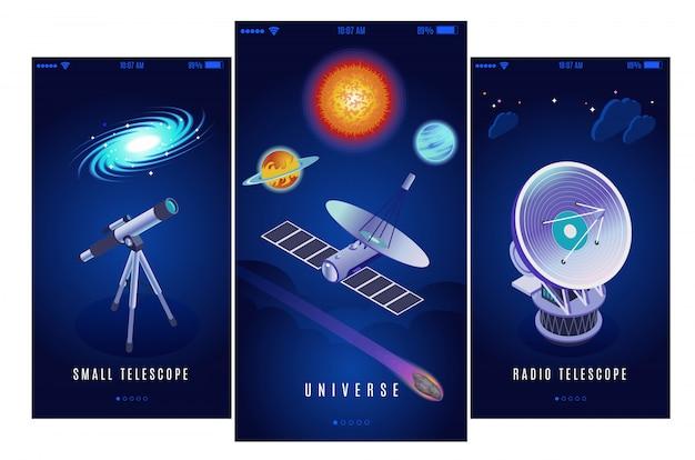 Astrofísica investigación espacial ciencia misión 3 pancartas isométricas verticales con radio y pequeños telescopios ópticos ilustración