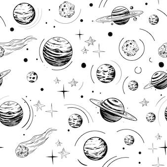 Astrología y objetos espaciales, vector de patrones sin fisuras. estilo vintage