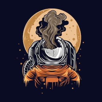 Astronauta abrumadora ilustración en el espacio