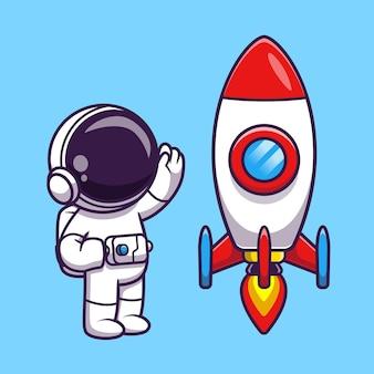 Astronauta agitando la mano a la ilustración de icono de vector de dibujos animados de cohetes.