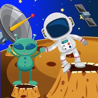 Astronauta y alienígena en el espacio
