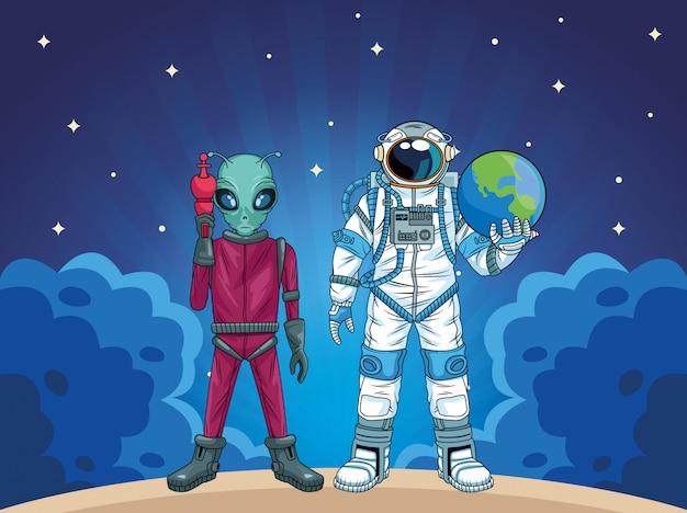 Astronauta y alienígena en la ilustración de personajes del espacio