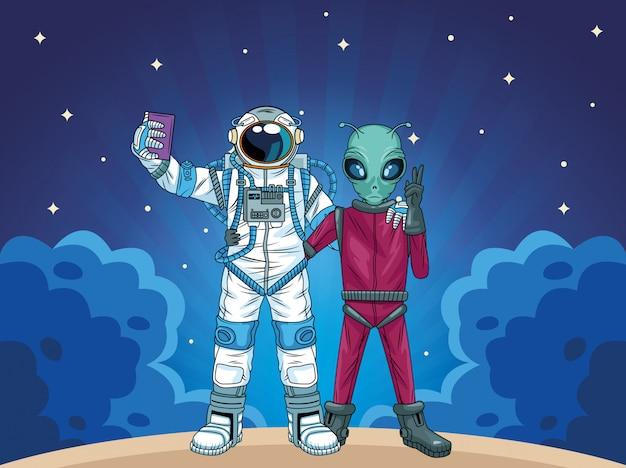 Astronauta y alienígena tomando una selfie en la ilustración del espacio