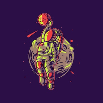 Astronauta astronauta con baloncesto lunar
