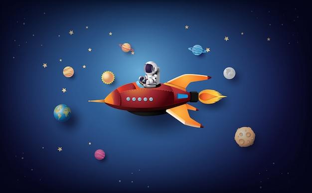 Astronauta astronauta flotando en la estratosfera. arte de papel y estilo artesanal.