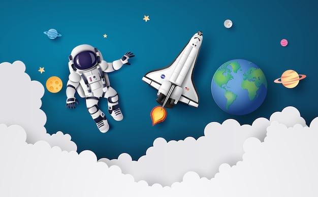 Astronauta astronauta flotando en la estratosfera
