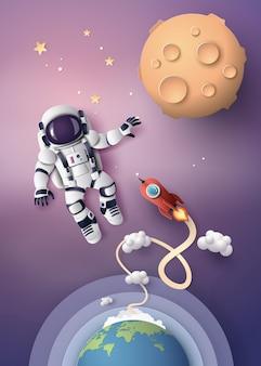Astronauta astronauta flotando en la estratosfera.