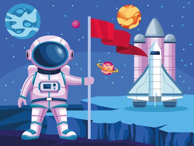 Astronauta con bandera y cohete espacial universo escena ilustración