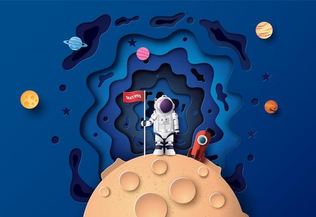 Astronauta con bandera en la luna, arte de papel y estilo digital de artesanía.