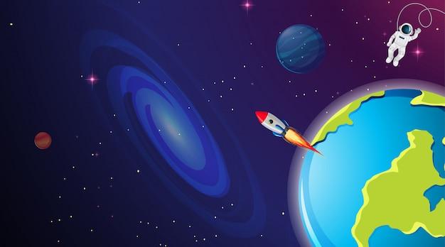 Astronauta y cohete en el espacio
