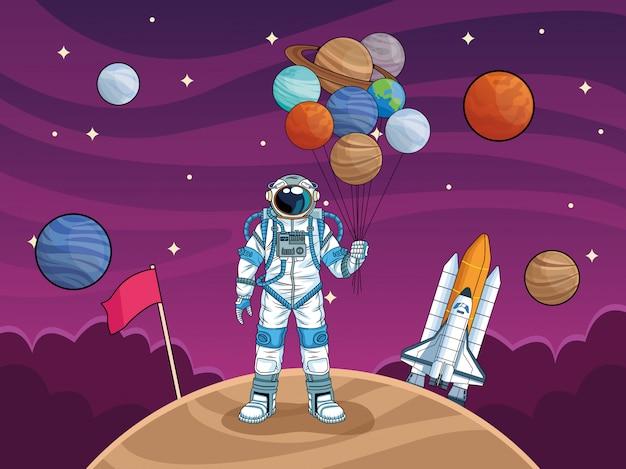 Astronauta con cohetes y planetas en la ilustración del espacio