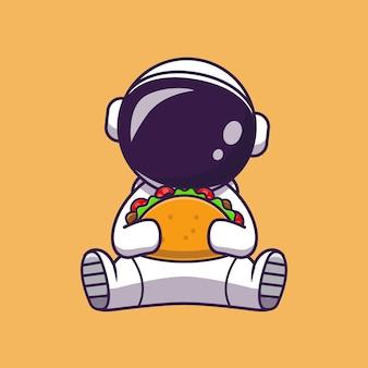 Astronauta comiendo ilustración de icono de vector de dibujos animados de taco. concepto de icono de comida de ciencia aislado vector premium. estilo de dibujos animados plana