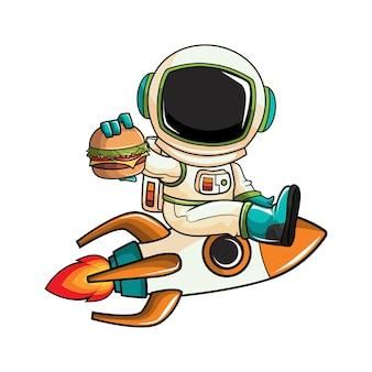 Astronauta comiendo vector de dibujos animados