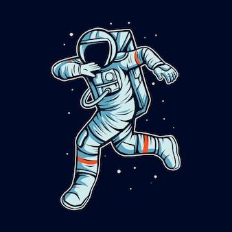 El astronauta corre en el espacio con la ilustración de traje de cosmonauta