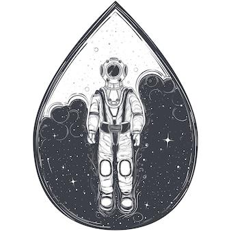 Astronauta, cosmonauta con traje espacial y casco