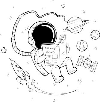 Astronauta dibujado a mano