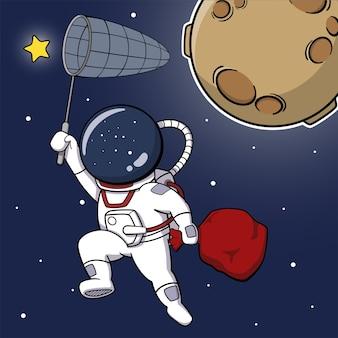 Astronauta de dibujos animados atrapando estrellas con red