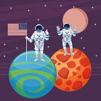 Astronauta en dibujos animados de exploración espacial aislados