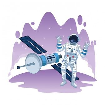 Astronauta en dibujos animados de exploración espacial