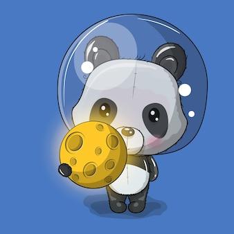 Astronauta de dibujos animados lindo panda con la luna