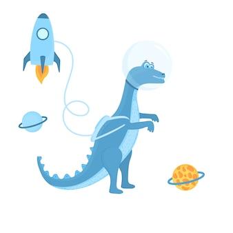 Astronauta dinosaurio en el espacio