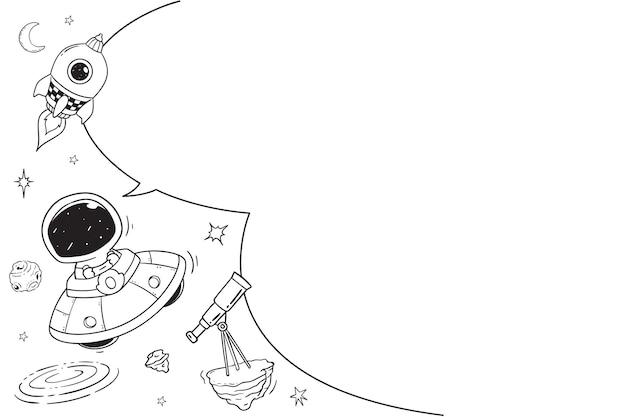 Astronauta con discurso en blanco buble, ilustración de doodle