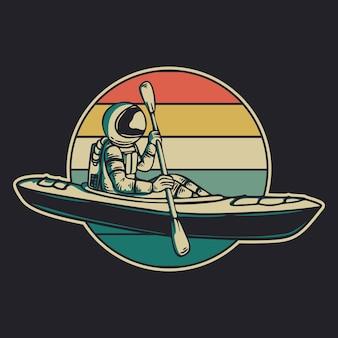 Astronauta de diseño vintage en kayak retro vintage ilustración