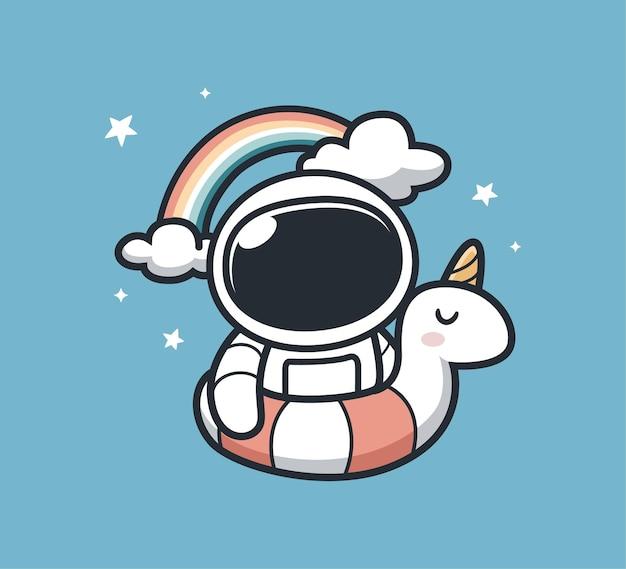 Astronauta disfrutando del verano en la piscina.