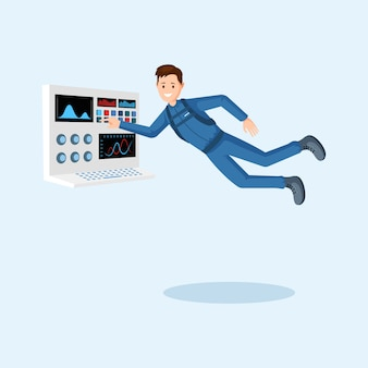 Astronauta de entrenamiento plana