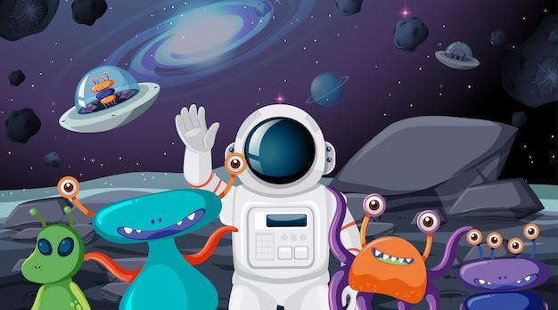Astronauta y escena alienígena