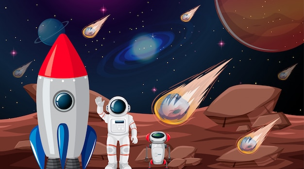 Astronauta en la escena del planeta