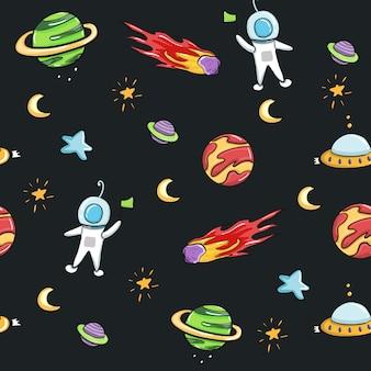Astronauta espacial y diseño sin costuras de galaxias para tejidos y estampados.