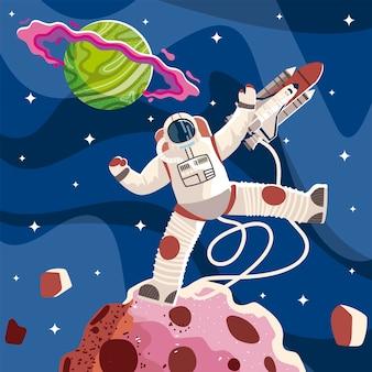 Astronauta espacial nave espacial planeta e ilustración de exploración de asteroides